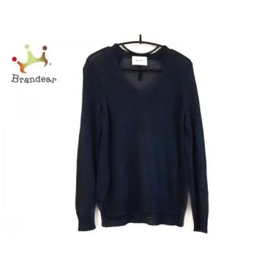 ベイジ BEIGE 長袖セーター サイズS レディース 美品 ネイビー×ブラウン エルボーパッチ 新着 20200502