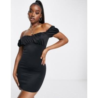 エイソス レディース ワンピース トップス ASOS DESIGN milkmaid bardot mini dress in black Black