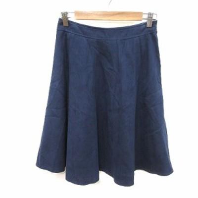 【中古】ナチュラルビューティー NATURAL BEAUTY フレアスカート ひざ丈 38 紺 ネイビー /MS レディース