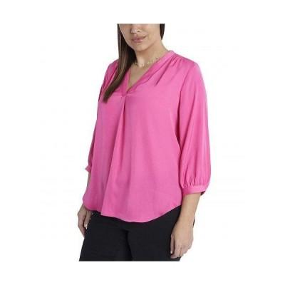 Vince Camuto ヴィンスカムート レディース 女性用 ファッション ブラウス Plus Size 3/4 Sleeve Rumple V-Neck Blouse - Bright Hibiacus