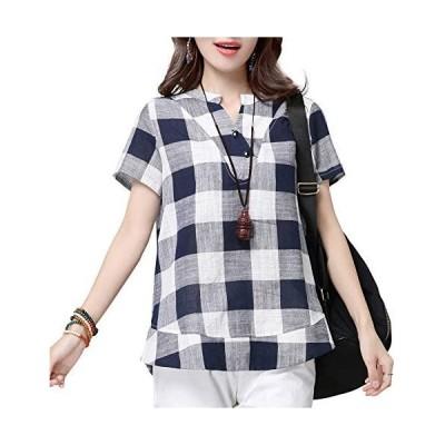 レディース カジュアル シャツ 無地 長袖 体型カバー ゆったり Aライン 韓国風 ワイシャツ 大きいサイズ (Vネック-ネイビー 3XL)