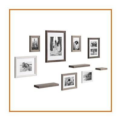 ウォールデコレーション Kate and Laurel Bordeaux Gallery Wall Frame and Shelf Kit, Set of 10, Multicolored with Whitewash, Charcoa