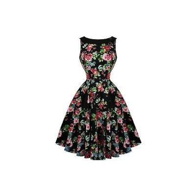 ハーツアンドローズロンドン ドレス ワンピース ハートs ローズs London ローズ ブラック フローラル ビンテージ 1950s パーティ ピンナップ ドレス UK