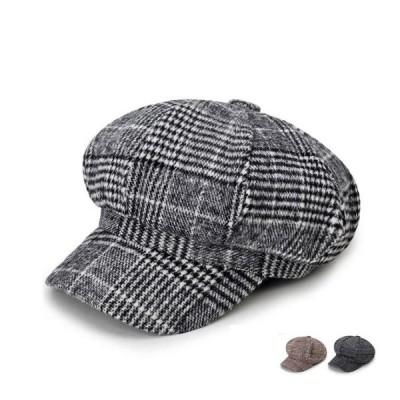 キャスケット ハンチング ベレー帽 レディース 帽子 ハット 秋冬 キャップ 小顔効果 チェック柄 つば付き 代引不可