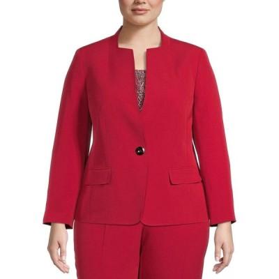カスパール Kasper レディース スーツ・ジャケット 大きいサイズ アウター Plus Size Single-Button Blazer Red