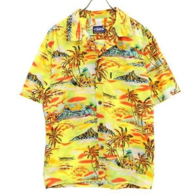 アロハシャツ L 黄 Palmwave メンズ 古着 200417 メール便可
