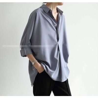 トップス シャツ ブラウス 開襟 オープンカラー Vネック 長袖 定番 ベーシック シンプル 無地 カジュアル 大人 クール かっこいい ボーイッシュ きれいめ