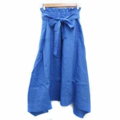 【中古】ミラオーウェン Mila Owen スカート フレア ギャザー ロング丈 マキシ丈 リボン付き 0 青 ブルー レディース