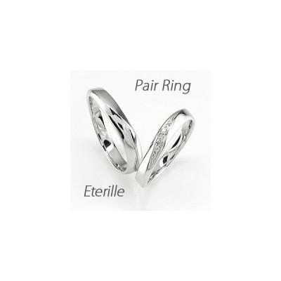ペアリング ゴールド 10k ダイヤモンド 指輪 結婚指輪 マリッジリング ウェーブ K10