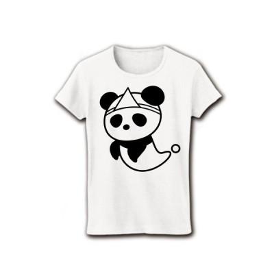 ゆうれいパンダ リブクルーネックTシャツ(ホワイト)