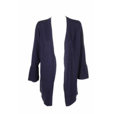 ファッション トップス Charter Club Intrepid Blue Scalloped Bell-Sleeve Cardigan Open Front