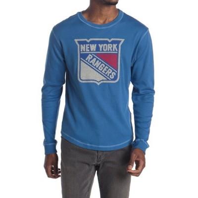 アメリカンニードル メンズ Tシャツ トップス Rooted NY Rangers Long Sleeve Fleece ROYAL