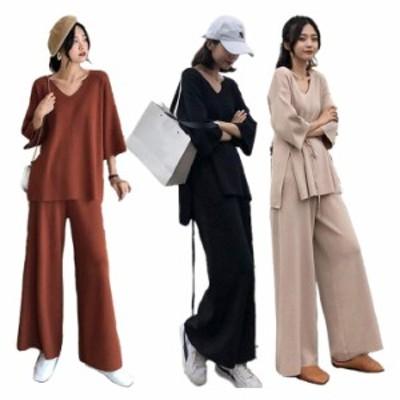 ワイドパンツ パンツスーツ 大きいサイズ M-5L セットアップ レディース 一部即納 209285 ニット 2点セット バギーパンツ ガウチョパンツ