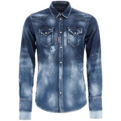 DSQUARED2/ディースクエアード Blue Dsquared2 destroyed denim shirt メンズ 秋冬2020 S71DM0423 S30341 ik