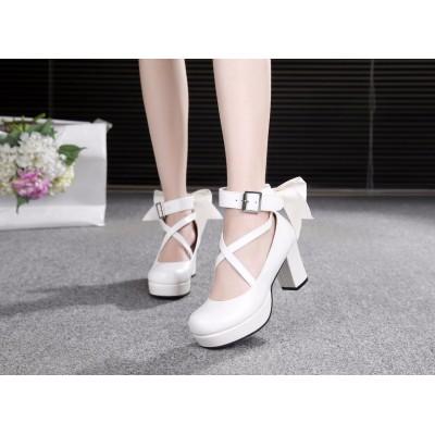 魔法少女ロリータ靴小丸ロリータドレス弓ハイヒールプリンセスメイドアニメ靴82801