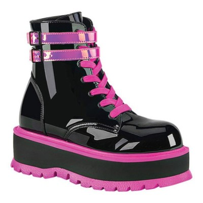 デモニア ブーツ&レインブーツ シューズ レディース Slacker 52 Platform Lace Up Ankle Boot (Women's) Black Patent/UV Iridescent Pink