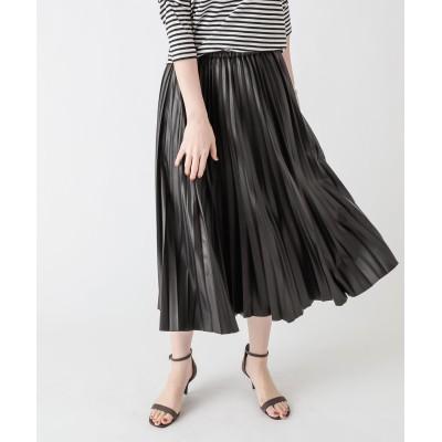 【大人かっこいい印象に】レザープリーツスカート
