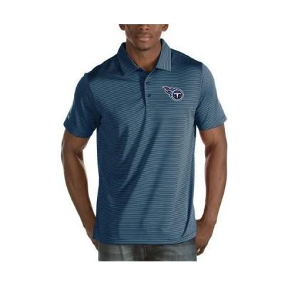 ユニセックス スポーツリーグ フットボール Tennessee Titans Antigua Quest Stripe Polo - Navy Tシャツ