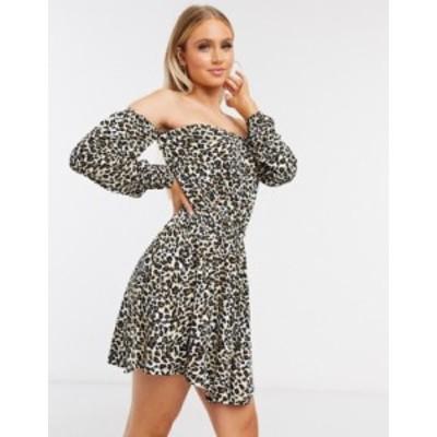 エイソス レディース ワンピース トップス ASOS DESIGN mini dress with off the shoulder in leopard print Animal print