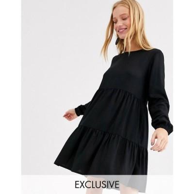 モンキー Monki レディース ワンピース ミニ丈 ワンピース・ドレス mini long sleeve smock dress in black ブラック