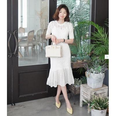 2019韓国版の中に吊り革をかけて身を修めて透かし編みのワンピースを作ります/フィッシュテールスカート/