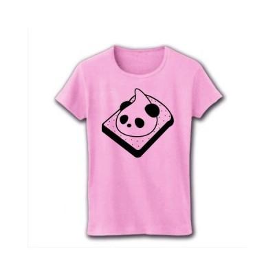 朝からパンだ! リブクルーネックTシャツ(ライトピンク)