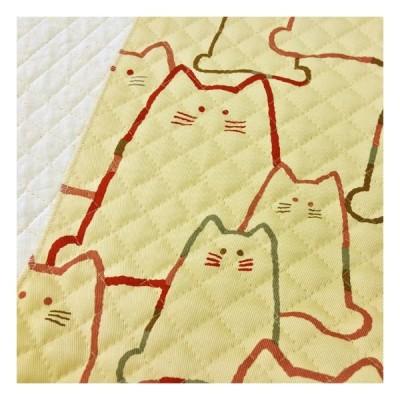 キルティング 生地 猫柄 キルト 大きなねこ 大柄 ベージュ コットンこばやし かわいい 布 生地屋