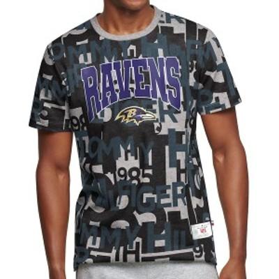 トミー ヒルフィガー メンズ Tシャツ トップス Baltimore Ravens Tommy Hilfiger All Over Print T-Shirt Charcoal