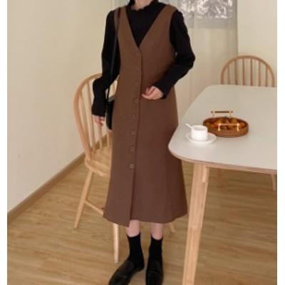 韓国 ファッション レディース ジャンパースカート ワンピース 秋冬 ロング Vネック Iライン ハイウエスト シンプル カジュアル 大人可愛