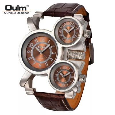メンズ Oulm ミリタリーウォッチ ユニーク  3  ダイヤルレザーストラップ男性 腕時計  Relojes Hombre