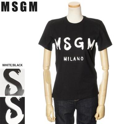 セール MSGM Tシャツ レディース エムエスジーエム 半袖 トップス ロゴ ホワイト ブラック 2841MDM60 207298