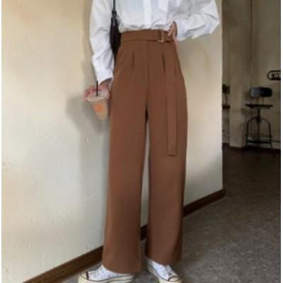 韓国 ファッション レディース ワイドパンツ ボトムス ロング タック ベルト付き ハイウエスト 無地 シンプル カジュアル 大人可愛い