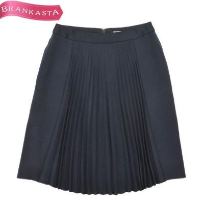 BALLSEY ボールジー フロントプリーツ ひざ丈スカート 38 M相当 ネイビー\期間限定特別セール/22nb95