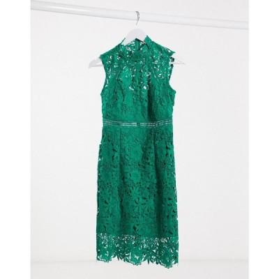 バルドー Bardot レディース ワンピース ミニ丈 ワンピース・ドレス Lace Mini Dress In Bright Green グリーン