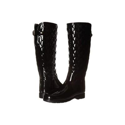 ハンター Refined Gloss Quilt Tall Rain Boots レディース ブーツ Black