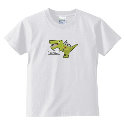 ブロック恐竜(グリーン) キッズTシャツ(カラー : ホワイト, サイズ : 140)