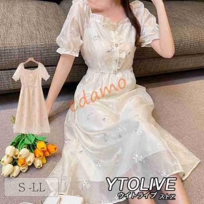 パーティードレス 結婚式 ワンピース ミモレ丈 袖あり ドレス 大きいサイズ フォーマル パーティー お呼ばれ 花柄刺繍 レース