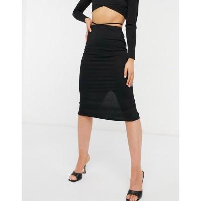エイソス ASOS DESIGN レディース ひざ丈スカート スカート midi skirt with cut out waist in black ブラック