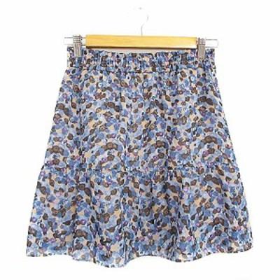 【中古】スピック&スパン Spick&Span Pour Belle Femme スカート ギャザー ミニ 総柄 青 ブルー /AAM27 レディース