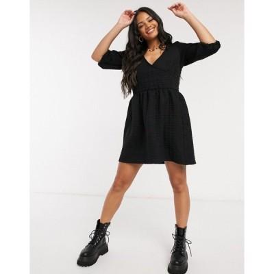 エイソス レディース ワンピース トップス ASOS DESIGN mini quilted smock dress in black Black