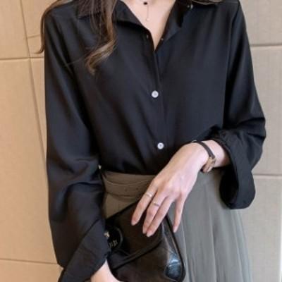 トップス 春夏 長袖シャツ ボタンシャツ シンプル 通勤 カジュアル ゆったり オーバーサイズ ブラック 20代 30代 40代 無地 セクシー お