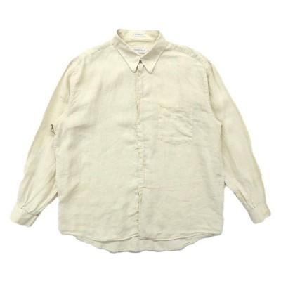 古着 イタリア製 リネンシャツ 長袖 ライトベージュ サイズ表記:XXL