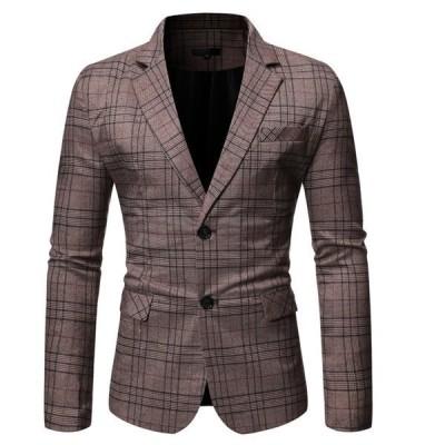 テーラードジャケット メンズ ブレザー ビジネスジャケット アウター スリム 紳士服 チェック柄 結婚式