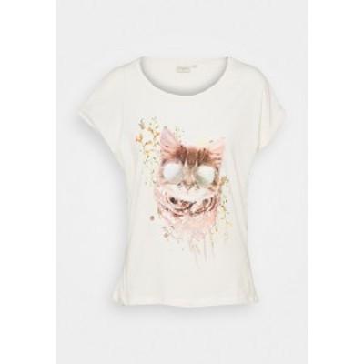 クリーム レディース Tシャツ トップス Print T-shirt - eggnog cat eggnog cat