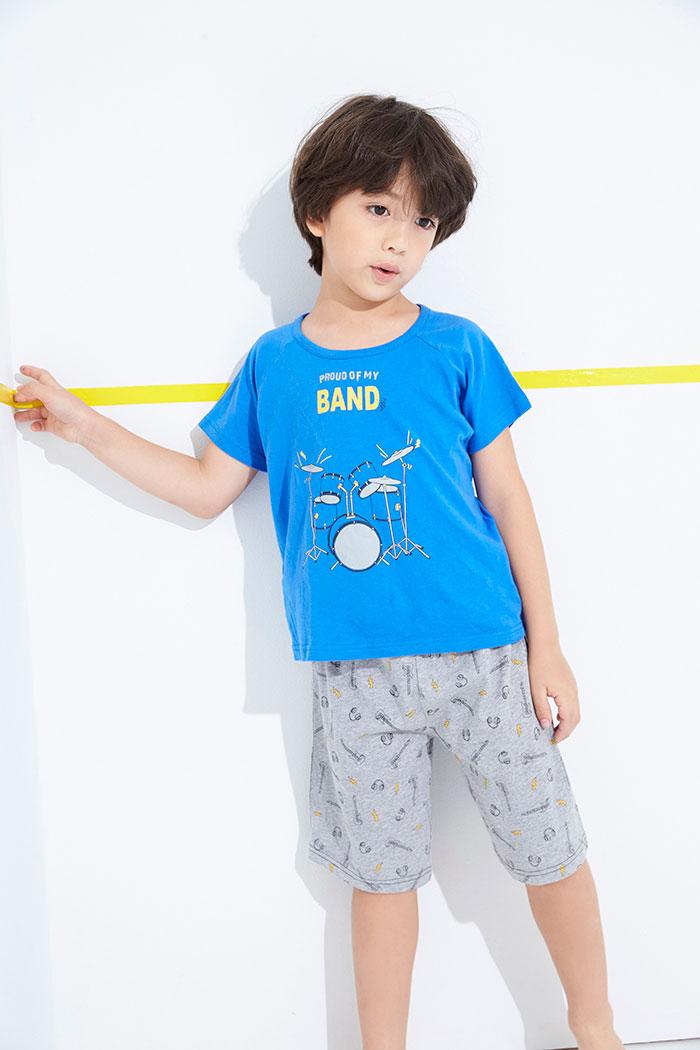 男童上身_夢想家.拉格蘭短袖睡衣(藍-爵士鼓)