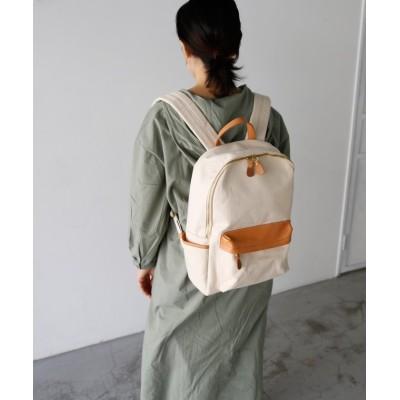【ヴィータフェリーチェ】 牛革×帆布リュックサック ユニセックス アイボリー F VitaFelice