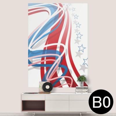 ポステッカー ポスター ウォールステッカー シール式ステッカー 飾り 1030mm×1456mm B0 写真 フォト 壁 星 赤 青 009330