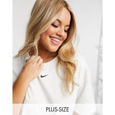 ナイキ Nike レディース Tシャツ トップス Plus central swoosh oversized t-shirt in white ホワイト