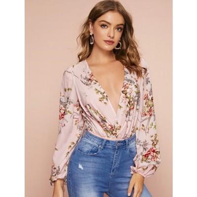 レディース / ボディスーツ / Plunge Neck Lantern Sleeve Floral Print Draped Bodysuit /