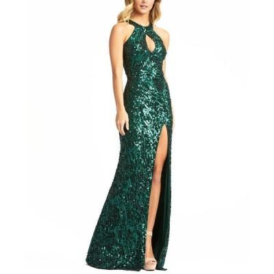 マックダガル ワンピース トップス レディース Sequinned Halter-Neck Gown Emerald
